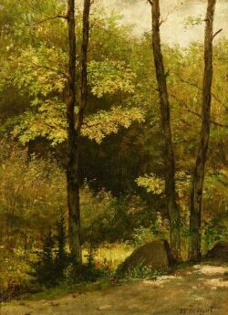 William Morris Hunt (American, 1824-1879), The Wooded Path, Signed and dated