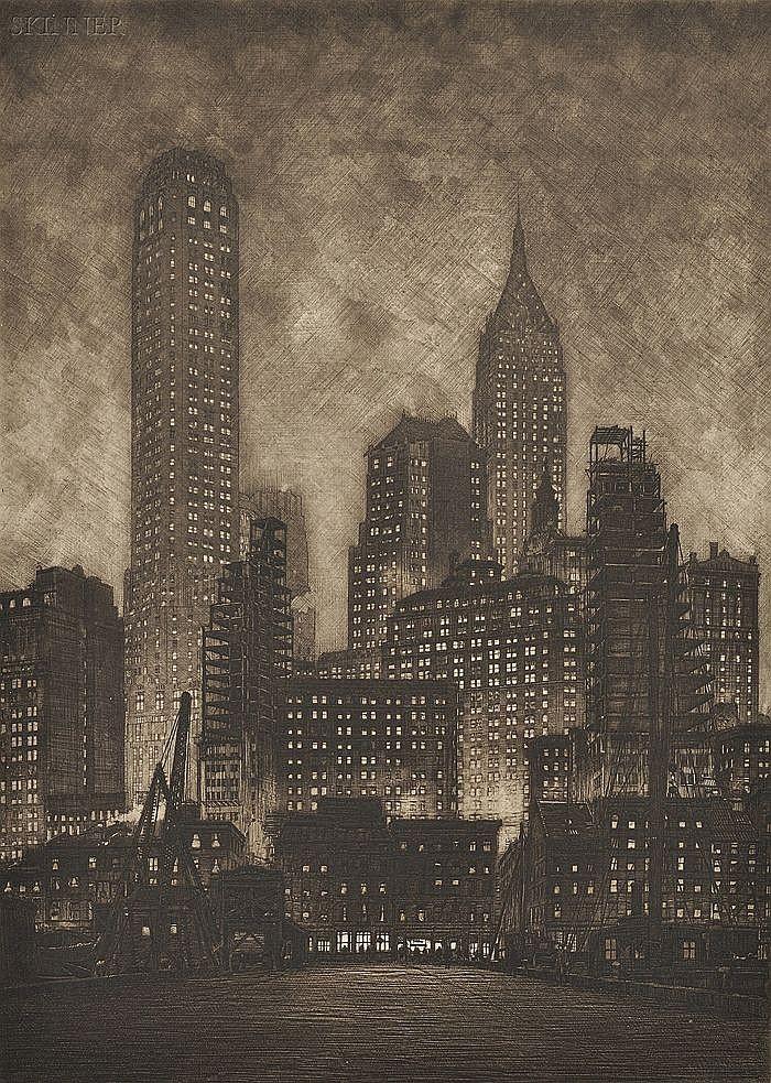Samuel V. Chamberlain (American, 1895-1975) Manhattan Twilight, 1935, seventh state of nine (Chamberlain & Kingsland, 111). Signed