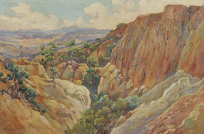 Charles Arthur Fries (American, 1854-1940) The Painted Gorge at Torrey Pines (No. 853), 1919 Signed
