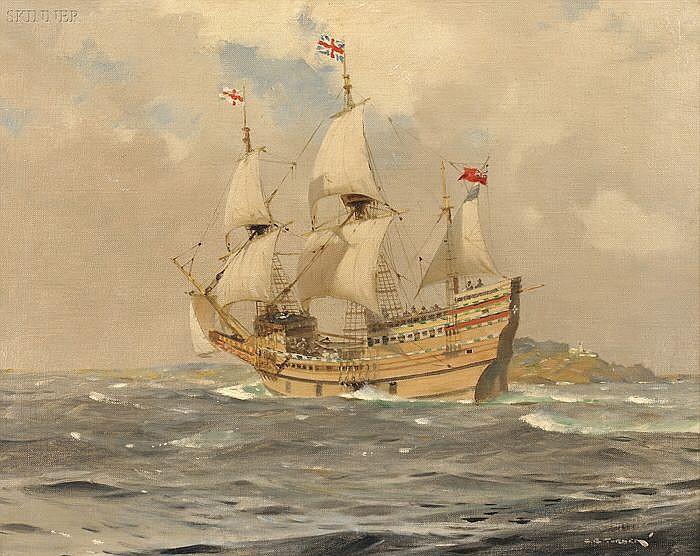 Charles Eddowes Turner (British, 1883-1965) Mayflower II Off Start Point, Devon, England, 1957 Signed