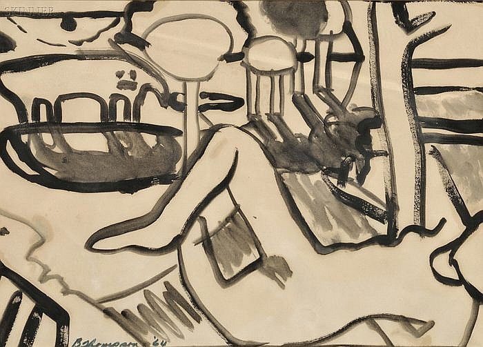 Bob (Robert Louis) Thompson (American, 1937-1966) Figure in the Landscape Signed and dated