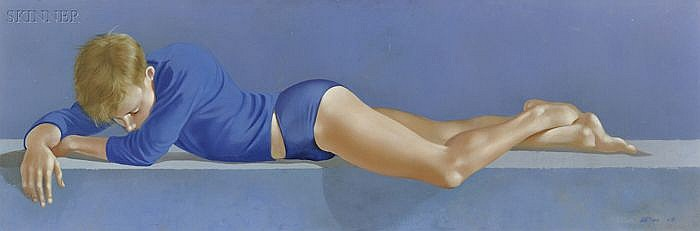 Robert R. Bliss (American, 1925-1981) Portrait of a Reclining Boy in Blue Signed and dated