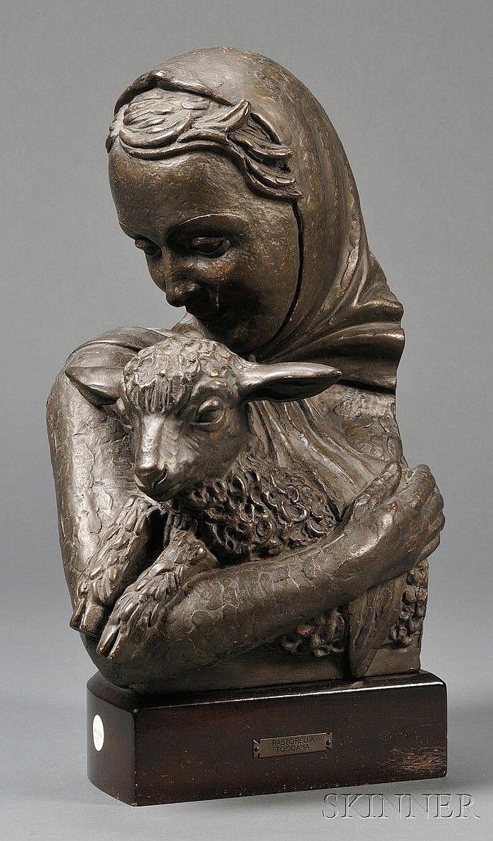Renato Bertelli (Italian, 1898-1933)  Bronzed Terra-cotta Bust of a Girl with a Lamb, Pastorelle Toscana, the smiling girl wearing a ke