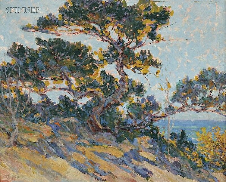 William Baxter Palmer Closson (American, 1848-1926) Windswept Cypress/A California View Signed