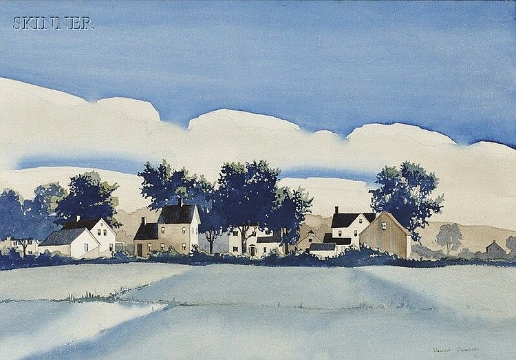 Walton Blodgett (American, 1908-1963) Vermont Landscape with Houses Signed