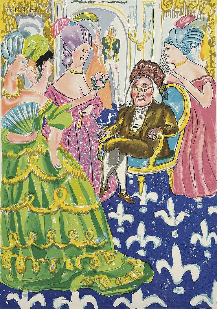 Red Grooms (American, b. 1937) Franklin's Reception at the Court of France, 1982, edition of 125 (Knestrick, 93). Signed and dated