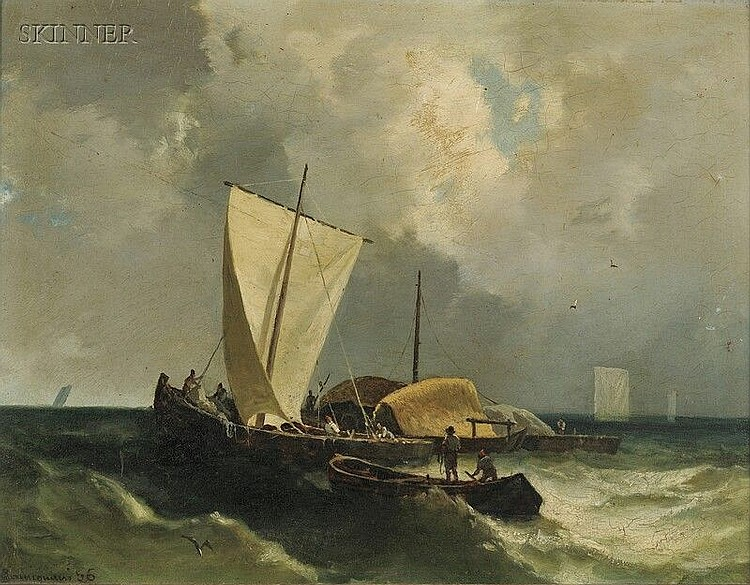 Guido Carmignani (Italian, 1838-1909) Fishing Party at Sea Signed and dated