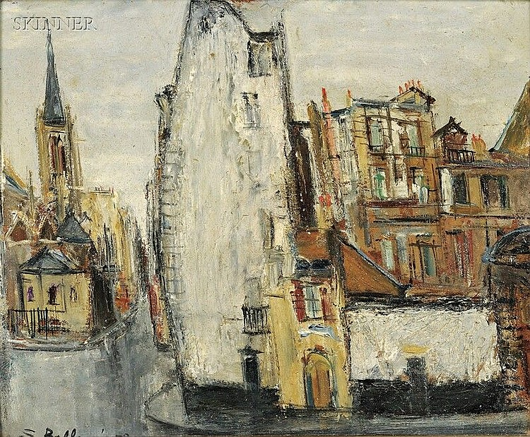 Serge Belloni (Italian, 1925-2005) Two Street Scenes: Village with Cathedral and Grand Canal Signed and dated