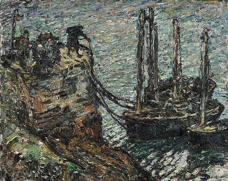 Walter Parson Shaw Griffin (French/American, 1861-1935) Finistere-Breton Fishing Boats Signed