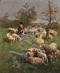 Luigi Chialiva (Swiss, 1842-1914) Shepherdess with Her Flock Signed