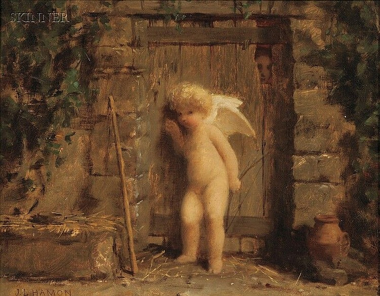 Jean-Louis Hamon (French, 1821-1874) Cupid at the Door Signed