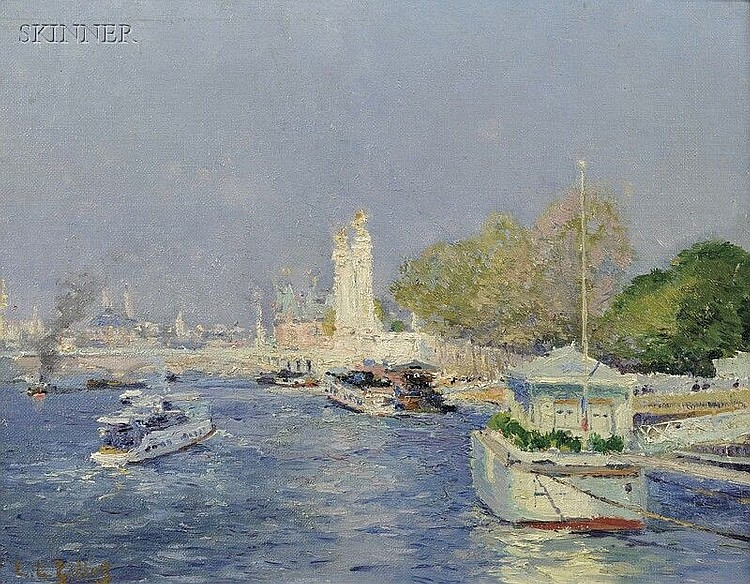 Eugène Louis Gillot (French, 1868-1925) View of Boats Along the Seine Signed