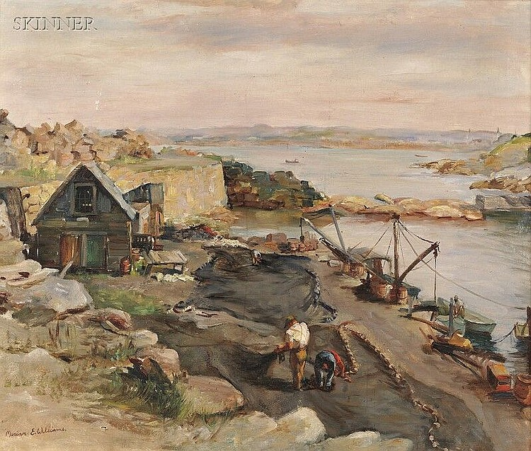 Marian E. Williams Steele (American, 1912-2001) Pigeon Cove, Rockport, Massachusetts Signed