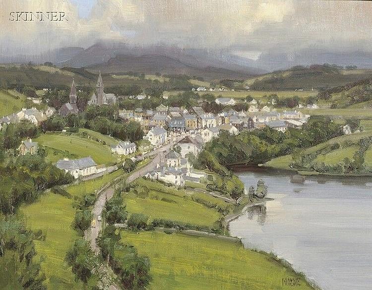 Wayne E. Wolfe (American, b. 1945) A View of Clifden, Ireland, near Connemara Signed