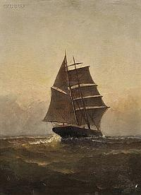 """James J. McAuliffe (American, 1848-1921) Sail at Dusk Signed and dated """"J.J. MCAULIFF... 1882"""" l.r. Oil on canvas, 16 1/4 x 12 in. (..."""