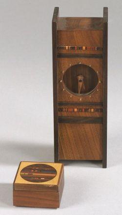 Robert McKeown Wooden Desk Clock and Small Box.