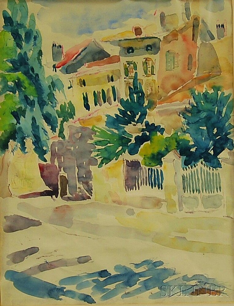 Alice Stanley Acheson (American, 1895-1996) Coppet Village. Unsigned, identified on the backing. Watercolor and ink on paper, sight siz
