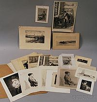 Twenty-two Works of Art, including a harbor view and seven portraits of a seated woman by Dr. Leroy Milton Yale, Jr. (American, 1841-19