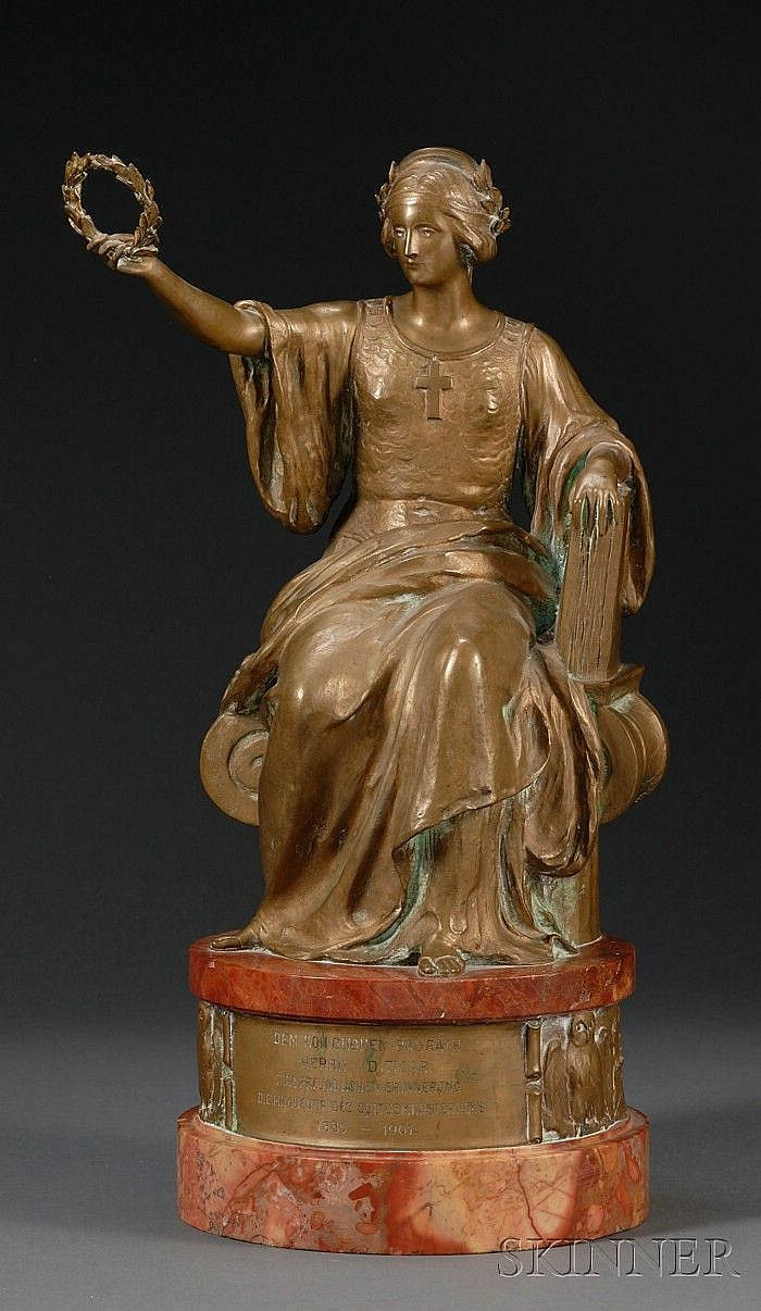 Johannes Götz (German, 1865-1934), Bronze and Marble Presentation Figure, modeled as an allegorical woman seated in a throne, holding a