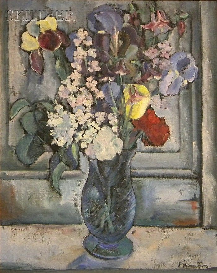 Prescott M. M. (Mike) Jones (American, 1904-1981) Still Life with Irises Signed