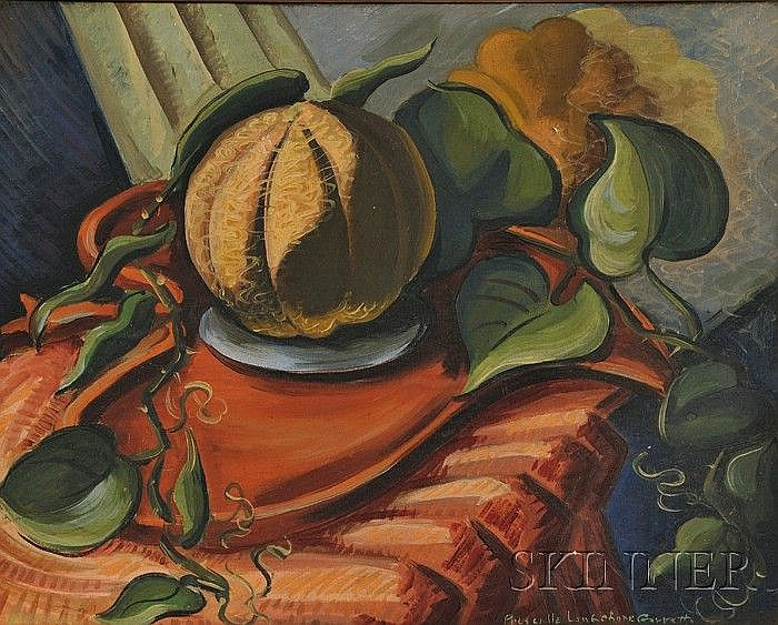 Priscilla Longshore Garrett (American, 1907-1992) Still Life with Casaba Melon Signed