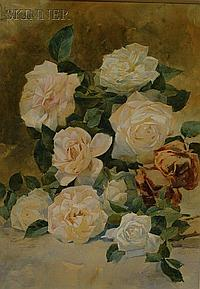 """William Frederick Stecher (American, 1864-1940) Still Life with Roses Signed and dated """"W.F. Stecher. 92."""" u.l., Watercolor on paper..."""