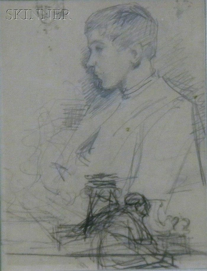 Ricardo de Villodas de la Torre (Spanish, 1846-1904) Study of a Boy Stamped