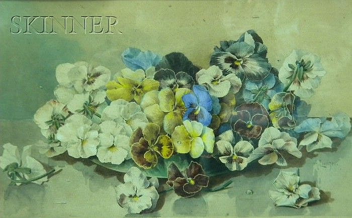 Alois Lunzer (Austrian, b. 1840) Bowl of Pansies Signed