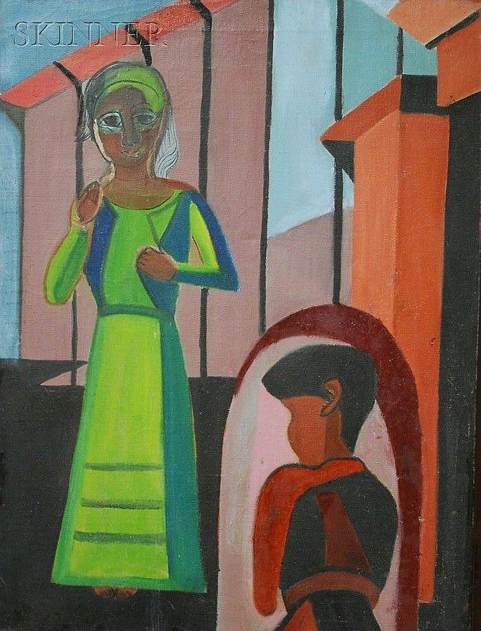 Helen Gerardia (American, 1903-1988) Two Figures Initialed