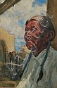 Ned Jacob (American, b. 1938) Portrait of Native American Man, Possibly from Taos Signed