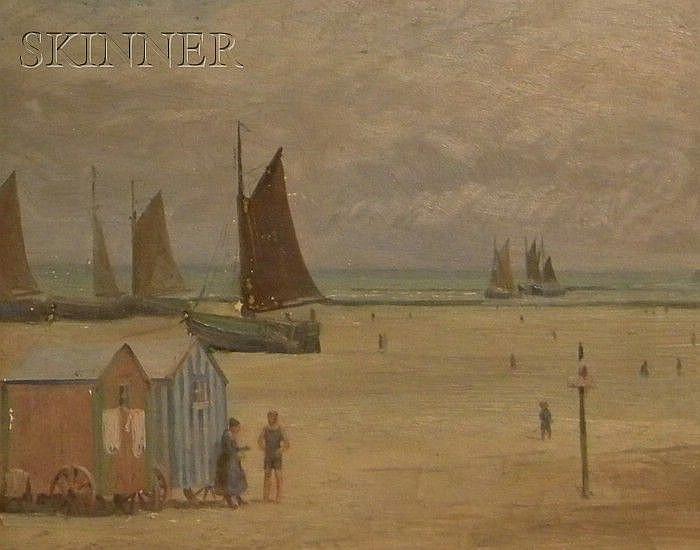 Frank Von Der Lancken (American, 1872-1950) View of a French Beach Signed