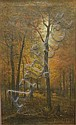 George W. King (American, 1836 - 1922) Autumn Woods with Cows Signed