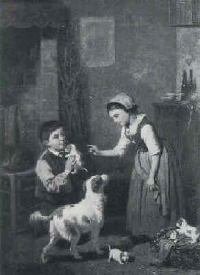 LOUIS LASSALLE (FRENCH, B. 1815) THE NEW MOTHER/INTERIOR GENRE SCENE WITH CHILDREN AND DOGS