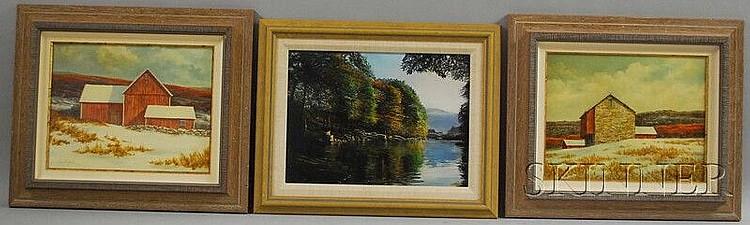 "Three Works: Robert Hamblen (American, b. 1932), Lake View in Autumn, signed ""Hamblen"" l.r.; and Suzy Aalund (American, 20th Century..."
