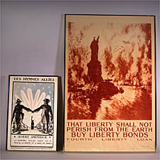 Two Framed War Posters: Joseph Pennell, American, 1860-1921), THAT LIBERTY SHALL NOT, PERISH FROM THE EARTH, 1918; Hermann Paul (French, 1864-1940), LES HYMNES ALLIES, sizes to 33 x 22in., framed.