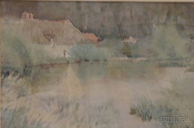 Framed Watercolor on Paper/board Landscape with Cottage by Edward Frederick Ertz (American, 1862-1954),e2...