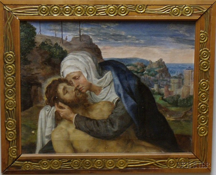 Framed 19th Century Continental School Oil on Canvas of the Deposition of Christ, inscribed