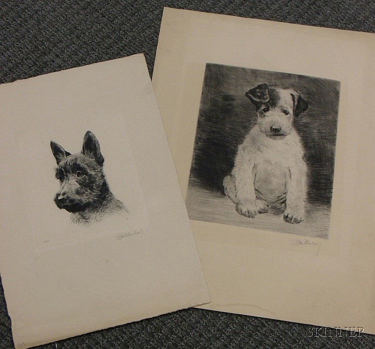 Curt Meyer-Eberhardt (German, 1895-1957) Lot of Two Unmatted Dog Etchings.