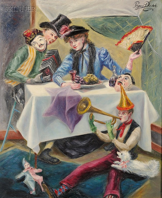 Peggy Dodds (American, 1900-1987) The Party Signed