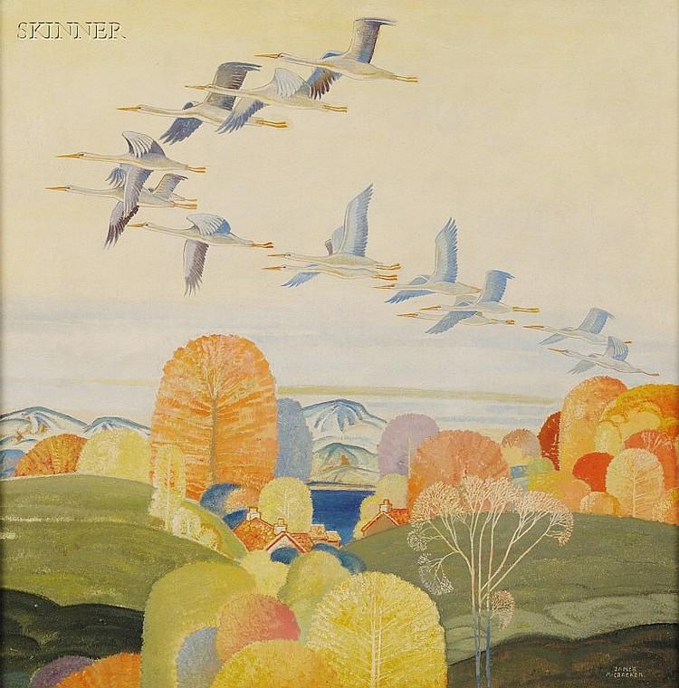 James McCracken (American, 1875-1967) Migrating Herons, c. 1930 Signed