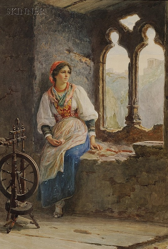 Luigi Olivetti (Italian, 1856-1941) At the Window Signed and inscribed