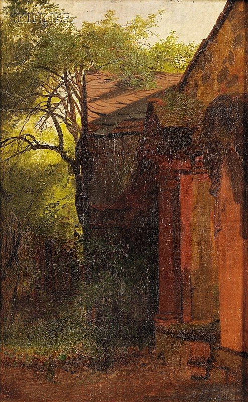 Karl Theodor Reiffenstein (German, 1820-1893) Peters Hirchhof/A Wooded Landscape View with Shed...