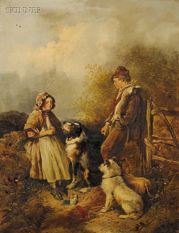 William Walker Morris (British, fl. 1850-1867) A Chat with the Young Game Keeper Signed and d...