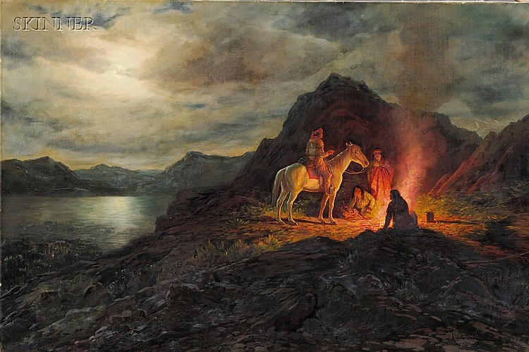 Henry Raschen (American, 1854-1937) Campfire Stories Signed