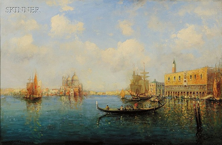 Nicholas Briganti (American, 1861-1944) View of the Grand Canal Signed