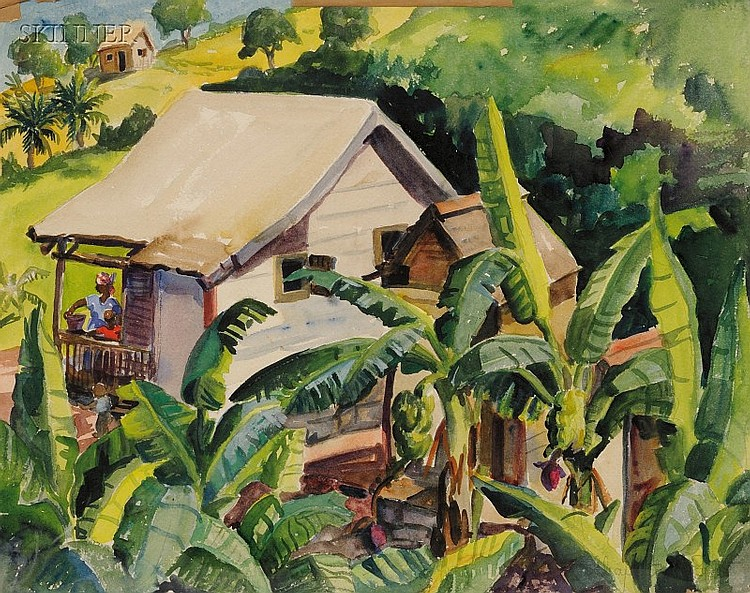 Charlotte Harrington Scott (American, 1905-1963) Tharpes Cottage Signed