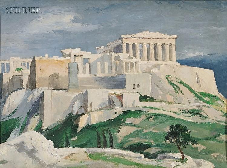 Marston Dean Hodgin (American, 1903-2003), Acropolis Athens, Signature incised