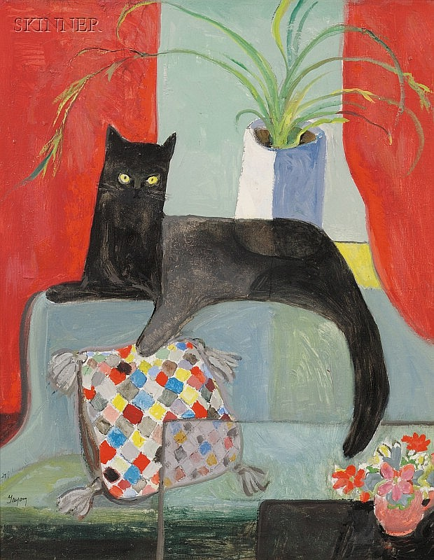 Dorothy Lake Gregory (American, 1893-1970) Portrait of a Black Cat Signed