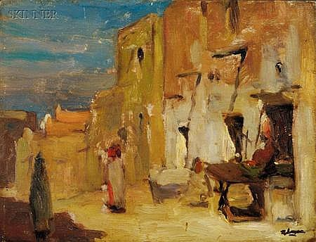 Robert Henry Logan (American, 1874-1942) Lot of Two Views: Algerian Scene and Street at Dusk ...