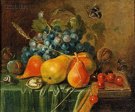 Attributed to Johann Daniel Bager (German, 1734-1815) Still Life with Summer Fruits and Nuts, Butterflies ...